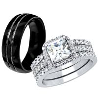 Hers 925 Sterling Silver CZ His Black Tungsten Engagement ...