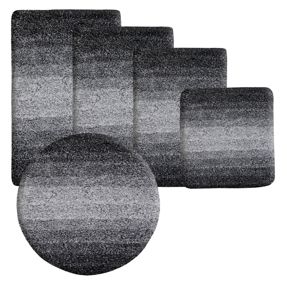 Depot Badematte Deep Pile Soft Bathroom Rug Non Slip Extra Thick Bath Floor Mat Runner Black Ebay