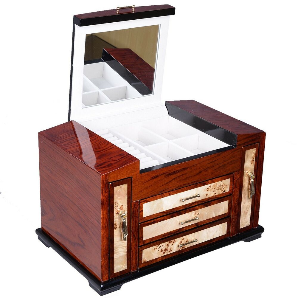 Wooden Jewelry Case 4 Layers W 3 Drawer Storage Box