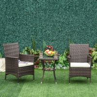 Outsunny 3PC Rattan Furniture Bistro Set Garden Chair ...