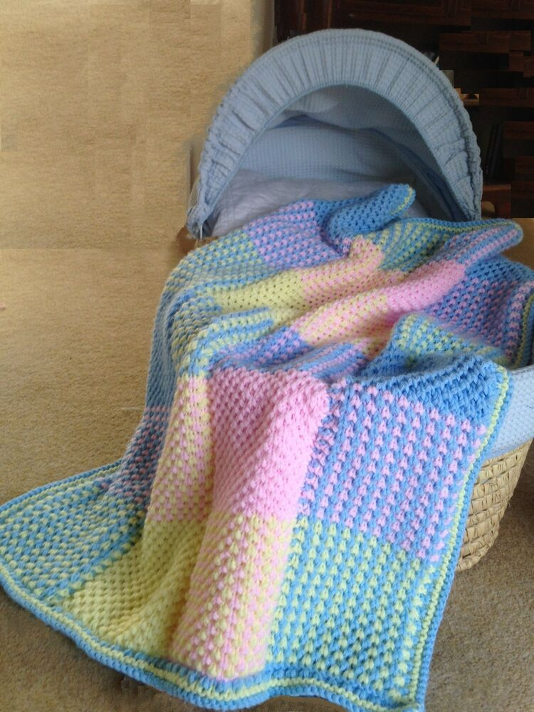 Baby Pram Blanket Knitting Patterns Baby Blanket Cot Cover Colourful Squares Knitting