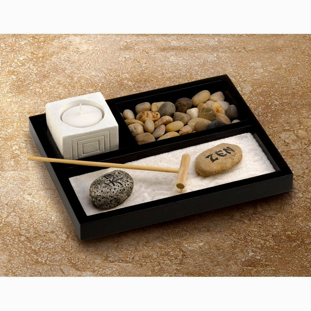 Table Top Zen Garden New Tabletop Zen Garden Kit Relaxation Creative Activity Japanese Garden Ebay