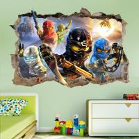 LEGO NINJAGO SMASHED WALL STICKER - 3D BEDROOM REMOVABLE ...