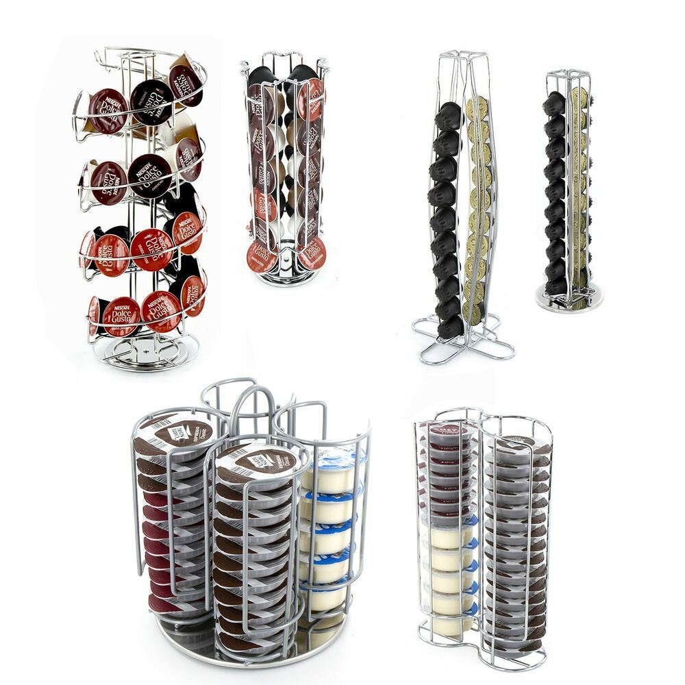 Tassimo Ou Dolce Gusto Coffee Capsule Pod Rotating Standing Tower Rack Dolce