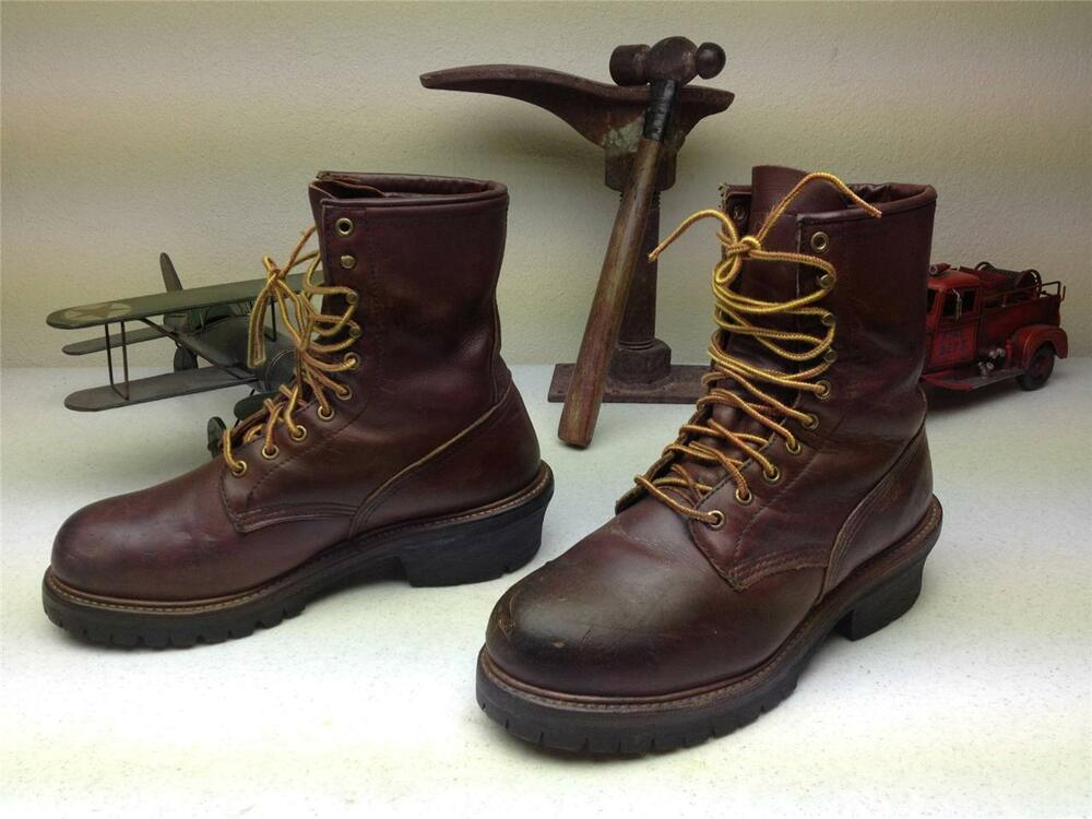 Vintage Red Wing Made In Usa Brown Leather Steel Toe