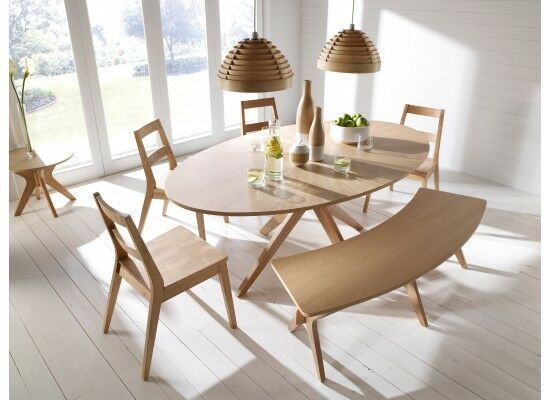 Malmo Dining Table Set Chairs Bench Oak Veneer Solid