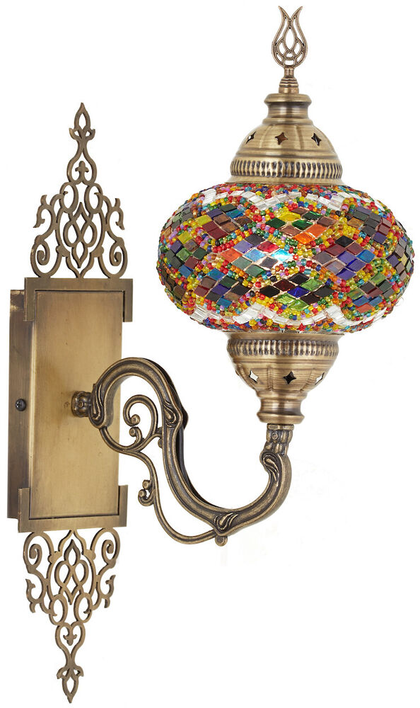 Art Deco Style History Turkish Moroccan Mosaic Glass Wall Sconce Tiffany Style