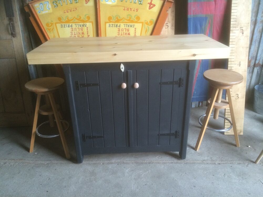 Free Standing Kitchen Island With Breakfast Bar A Rustic Wooden Freestanding Kitchen Island Handmade