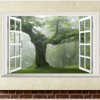 Green Old Tree 3D Window Wall Sticker Removable Vinyl ...