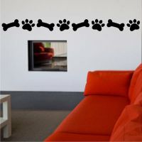 Dog Paw Print And Bone Decal Dog Removable Wall Sticker ...
