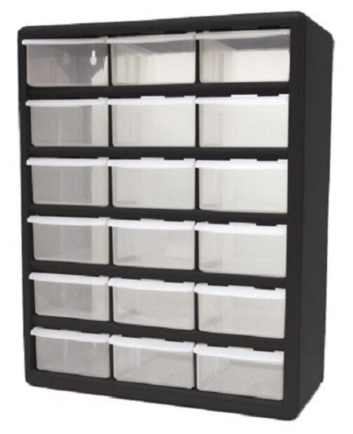 Heavy Duty Plastic Storage Home Cabinet 18 Clear Drawer