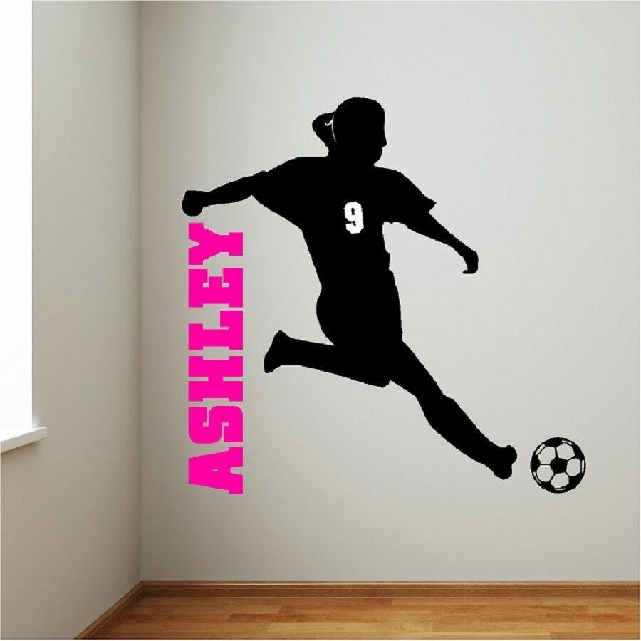 Personalized Girl Soccer Player Wall Decal Removable Wall