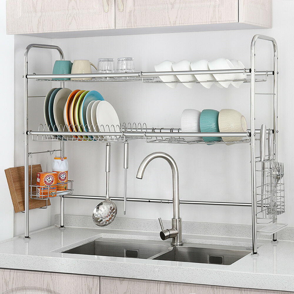 Dish Rack 2 Tier Double Slot Stainless Steel Dry Shelf