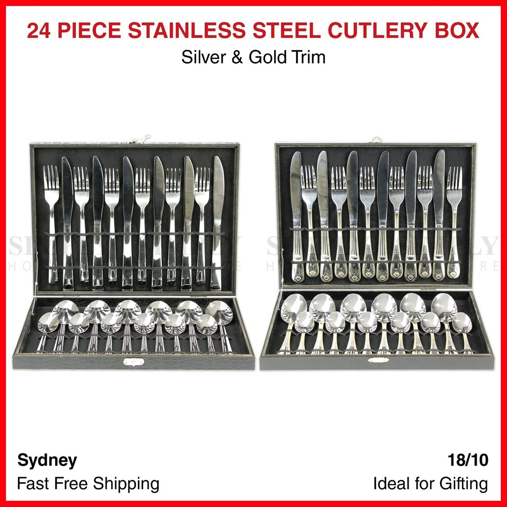 Ikea Forks 24 Piece Cutlery Box Stainless Steel Set Boxes Silver Gold