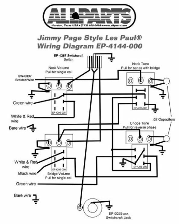 Wiring Kit for GIBSON® JIMMY PAGE LES PAUL COMPLETE w Diagram Pots