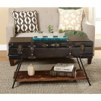 Modern Vintage Industrial Trunk Wood Coffee Table Storage ...
