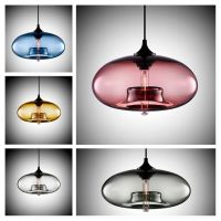 Antique DIY Ceiling Lamp Crystal Blue Glass Cover Pendant ...