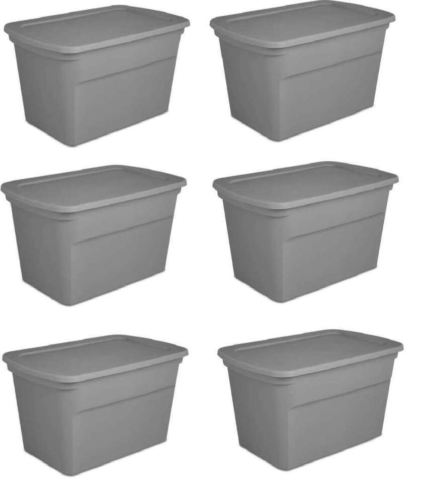New Sterilite 30 Gallon Tote Set Of 6 Plastic Boxes