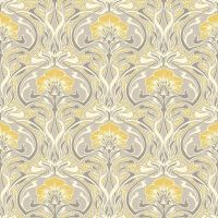 Grey and Yellow Retro Floral Wallpaper Art Deco Flora