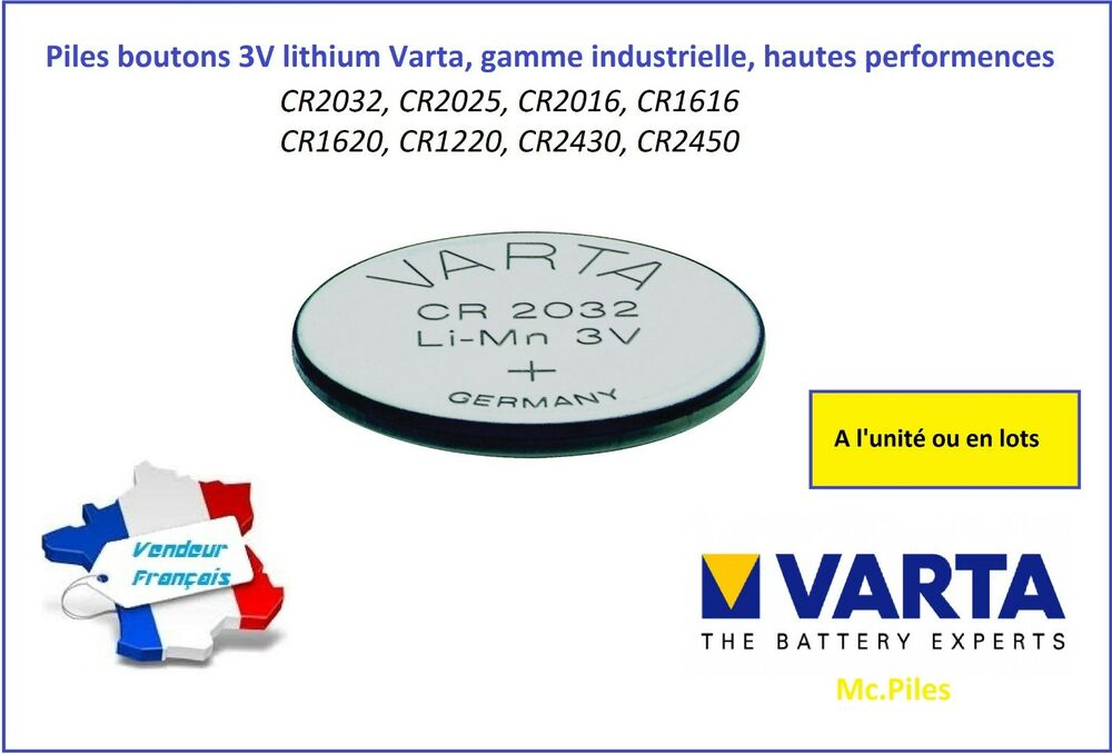 Pile Plate 3v Button Cells 3v Lithium Varta, Cr2032/2025/20161220/1620