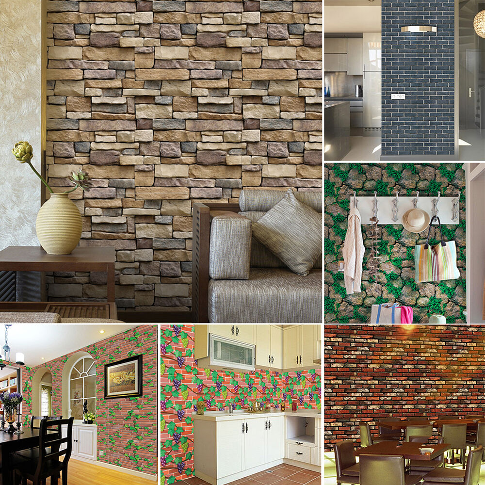 3D Wall Paper Brick Stone Rustic Effect Self