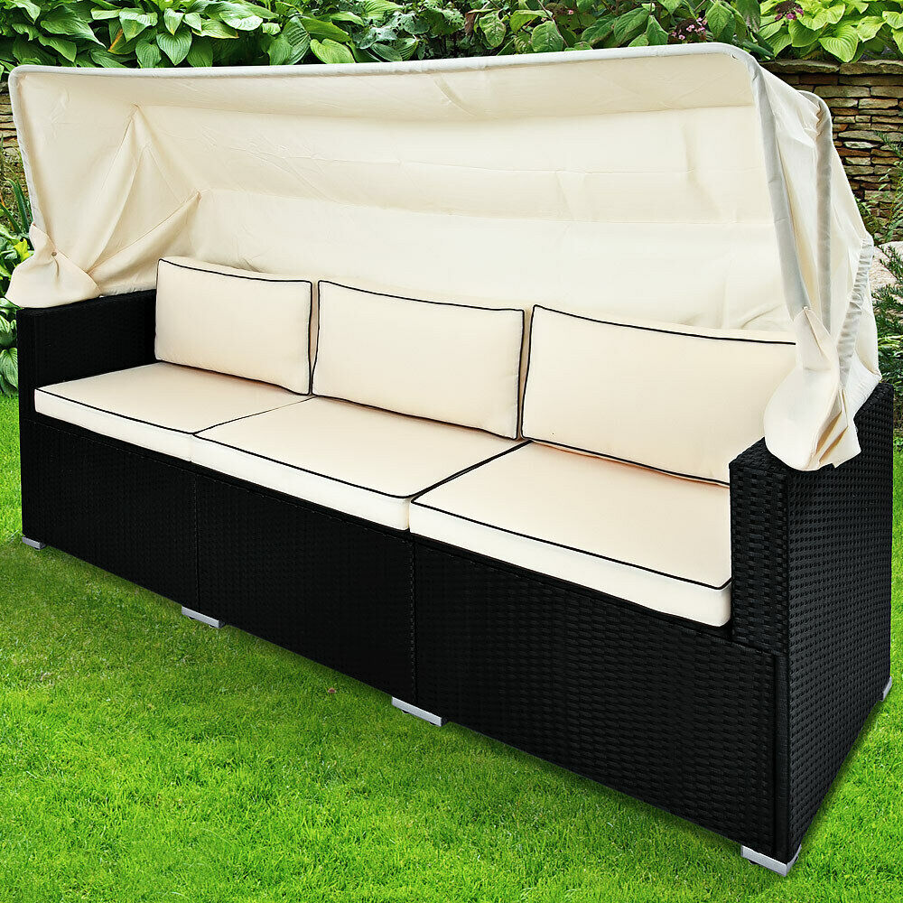 Lounge Sessel Ebay Poly Rattan Lounge Sofa Bank Couch Dach Gartenliege