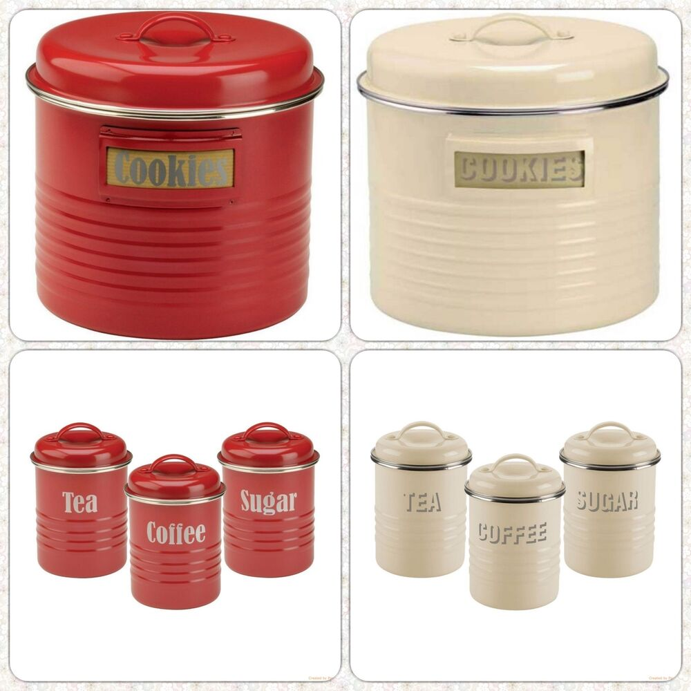 Cucina A Gas Vintage New Vintage Style Kitchen Set Of 3 Storage Canisters Large Cookies Bin Jar Ebay