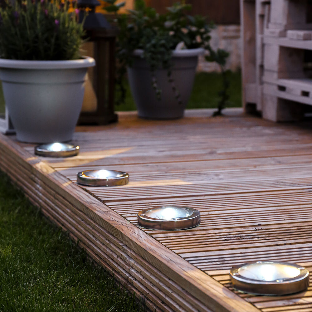 Terrasse Metal Solar Power Outdoor Stainless Steel Decking Pathway Spot Lights Garden Fence Ebay