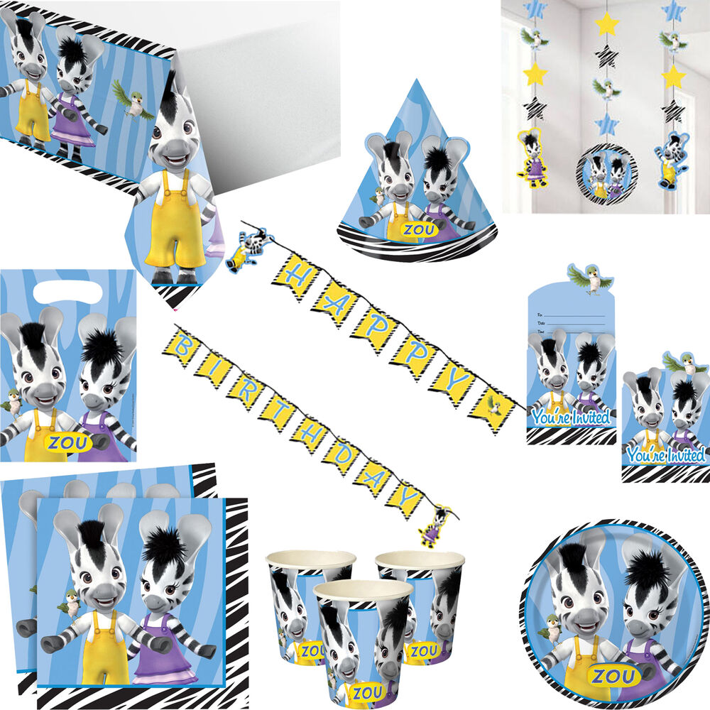 Decoration Anniversaire Zou Zou Zebra Girls Boys Birthday Party Tableware Invitations And Decorations Ebay
