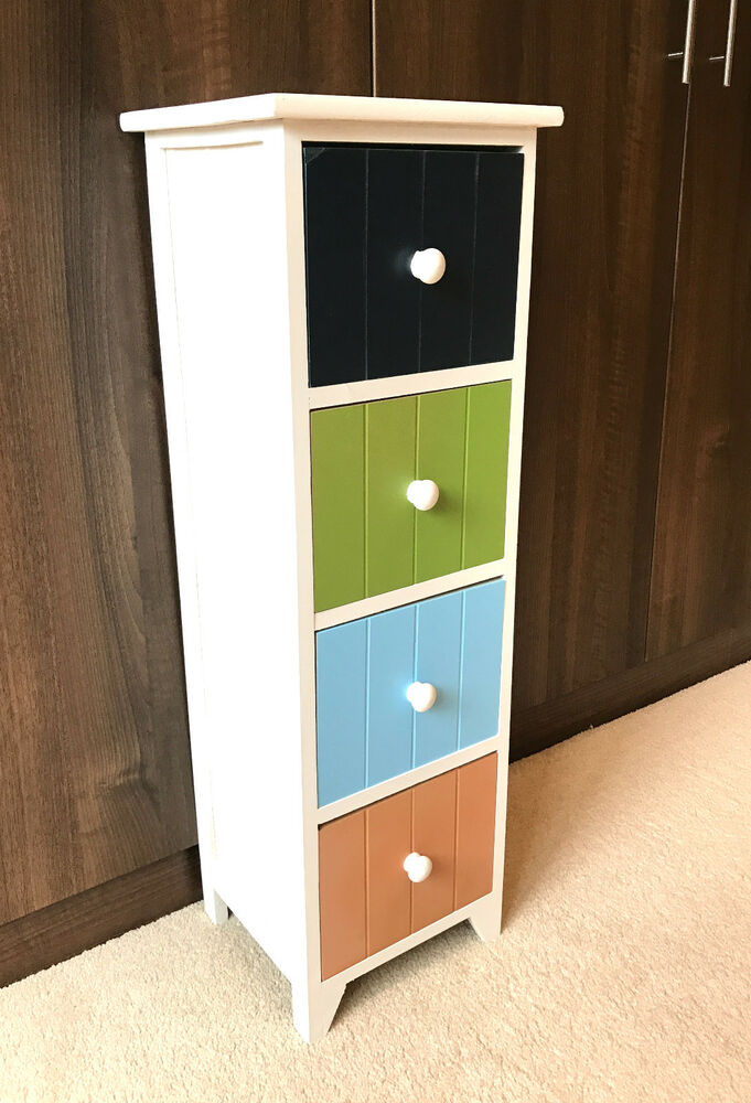 4 Drawer Multi Colour Storage Unit Tall Slim Cabinet