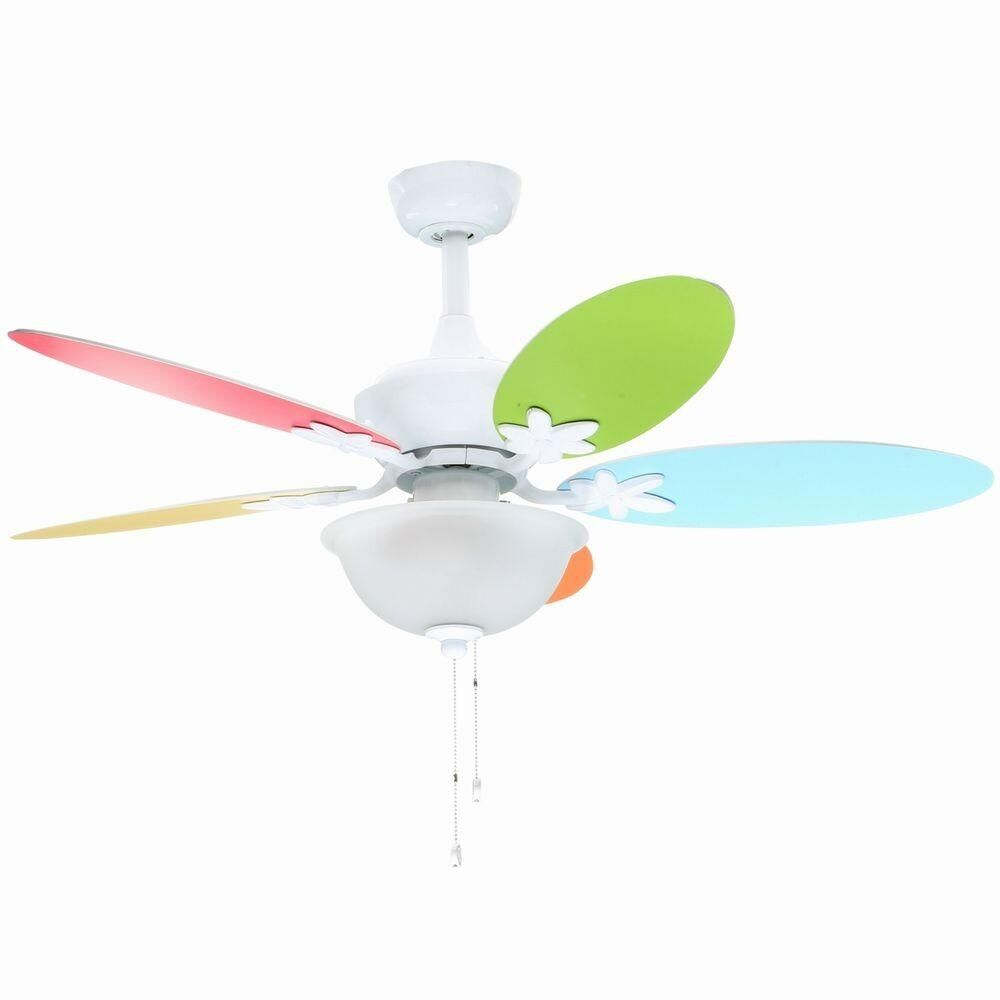 Ceiling Fan Girls Room Multi Color Blades Ceiling Fan Kids Girls Teen Bedroom Interior Decoration Decor Ebay