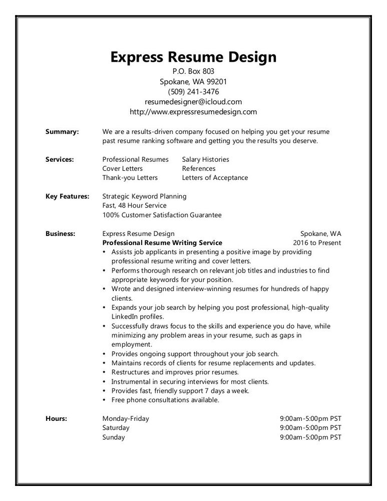 Resume Writing Service - Two-Page Resume  Cover Letter - Interview