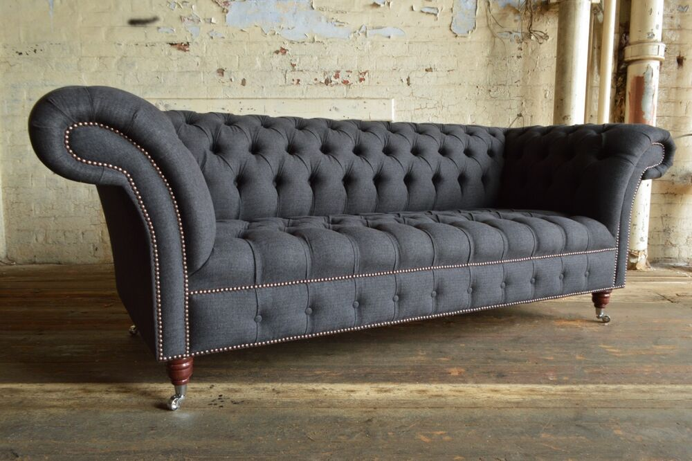 Modern Handmade 3 Seater Charcoal Grey Wool Chesterfield Sofa Couch Chair Ebay