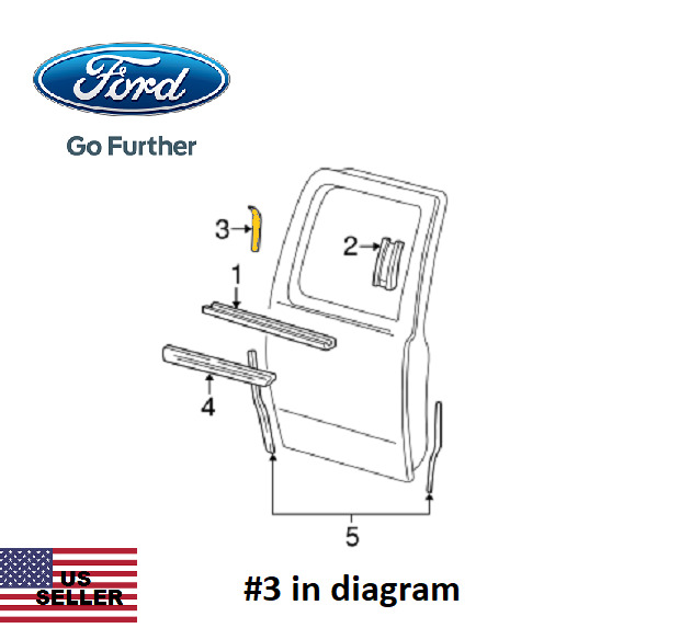 New Ford YL3Z-16254A04-AA Applique- Rear Right Side Exterior Door