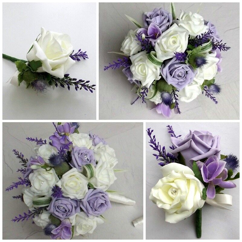 Carnation Flower Corsage Lilac Thistle Wedding Flowers - Brides Bouquet