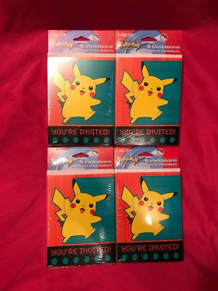 Pokemon You\u0027re Invited Invitations 4 Packs 32 Total Invites Brand