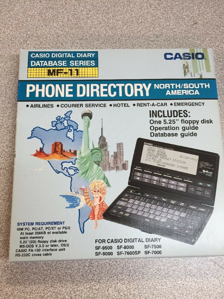 Casio MF-11 Digital Diary DataBase Serie PHONE DIRECTORY North/South