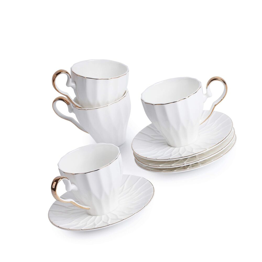 Small Coffee Cups And Saucers Btät Espresso Cups And Saucers Set Of 4 6 Oz Cappuccino Cups Small Coff Ebay