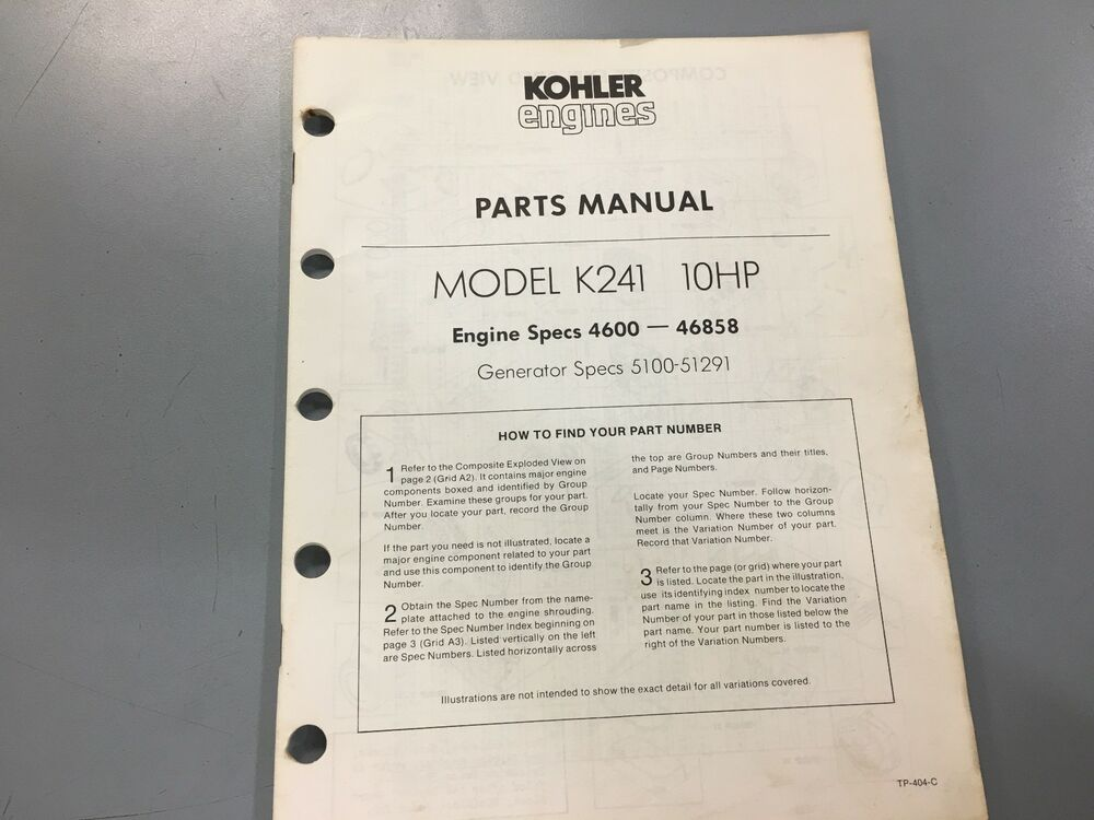Kohler Illustrated parts manual k241,Kohler eBay