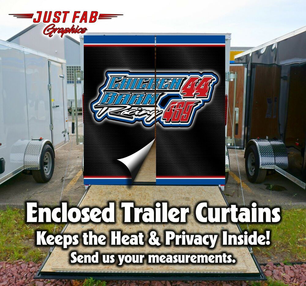 Trailer Curtains Race Team Custom Enclosed Trailer Rear Door Curtains Yamaha Kawasaki Ski Doo Ebay
