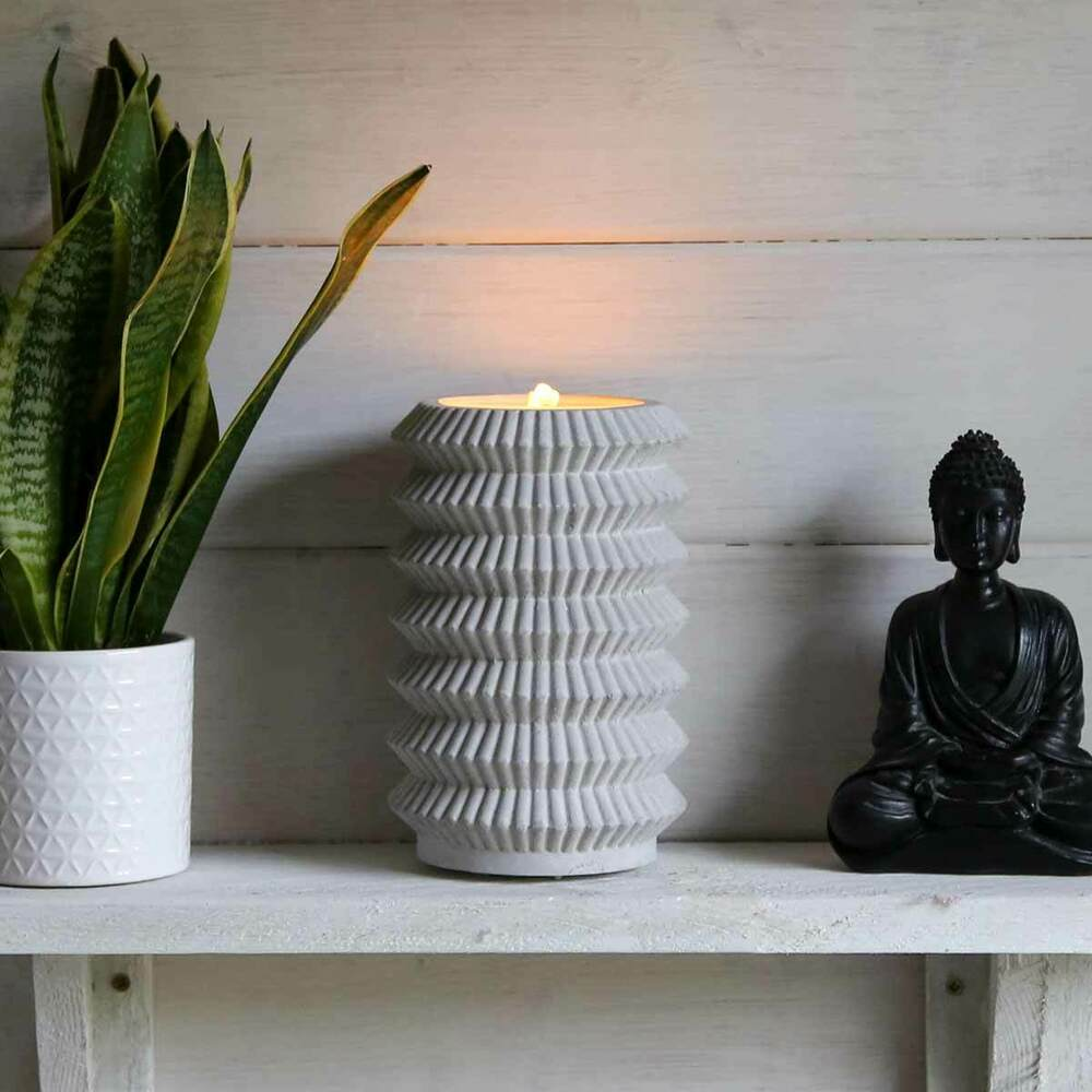 Fontaine Zen Battery Power Indoor Grey Concrete Zen Bubbling Water Fountain With Led Lights 5053844202630 Ebay
