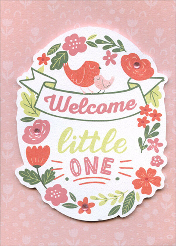Welcome Little One Tip On with Pink Gems 3D New Baby Congratulations
