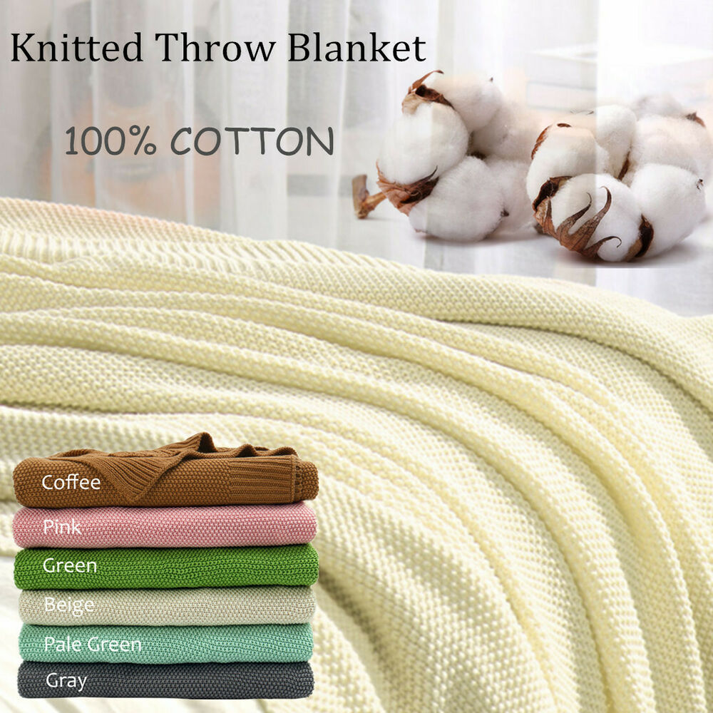 Decorative Sofa Throws Blankets Soft Warm 100 Cotton Solid Decorative Knitted Throw Blanket For Couch 50