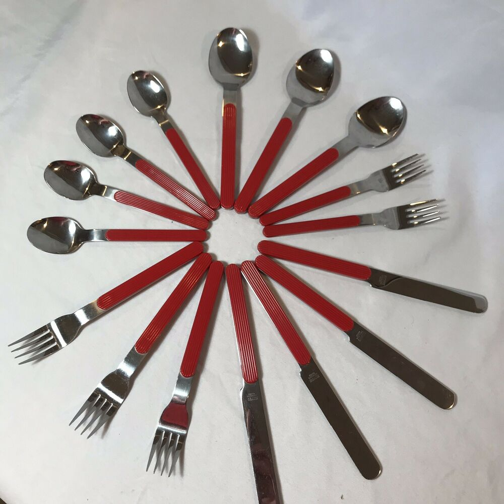 Red Handle Flatware Crown Corning Stainless Flatware Silverware Ribbed Red Handle Camping Vtg Retro Ebay