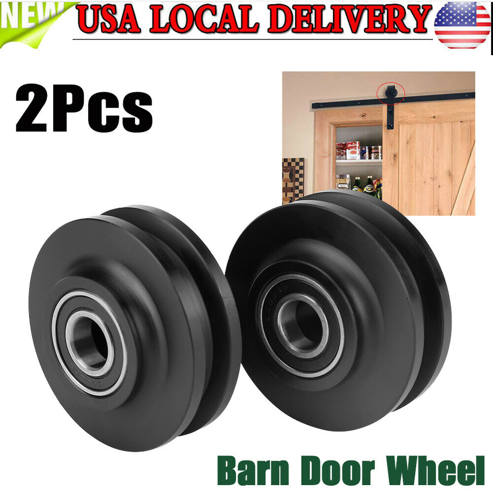 Barn Door Wheels 2x Sliding Barn Rollers Wood Door Wheel Hardware Replacement Roller Wheels Black 741870431739 Ebay