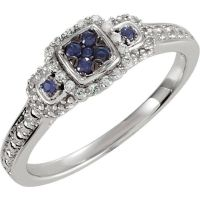 Genuine Blue Sapphire and Diamond Promise Ring Sterling