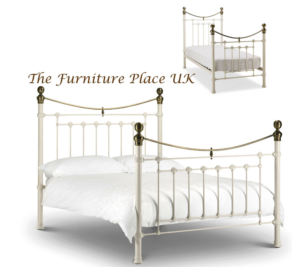Victoria Metal Bed Frame In Stone White Brass Single