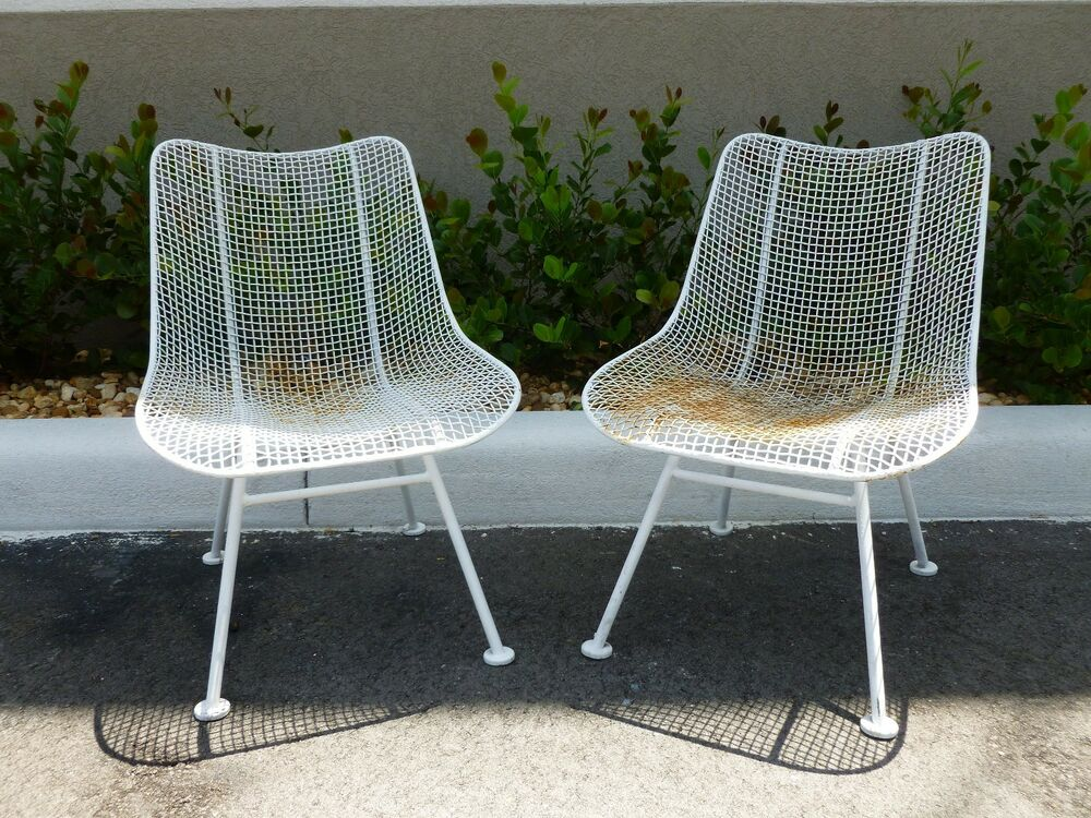 2 Woodard Mid Century Wrought Iron And Mesh Chairs In The