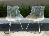 2 WOODARD MID CENTURY WROUGHT IRON AND MESH CHAIRS IN THE ...