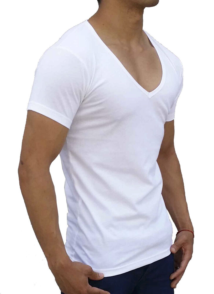V Neck T Shirt New Mens Plain White Deep V Neck T-shirt Slim Fit Casual S